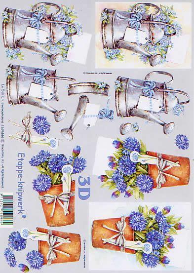 3D Bogen Gießkanne - Format A4,  Le Suh,  3D Bogen,  Gießkanne,  Kornblumen in Vase
