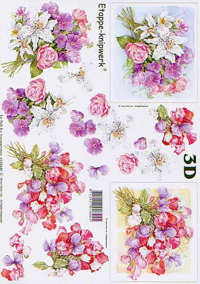3D Bogen Blumenstrauß - Format A4,  Blumen - Rosen,  Le Suh,  3D Bogen,  Blumenstrauß,  Lilie