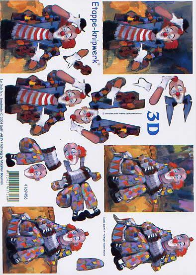 3D Bogen Clown - Format A4,  Sonstiges -  Sonstiges,  Le Suh,  3D Bogen,  Clown