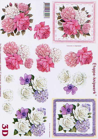 3D Bogen Blumen - Format A4,  Blumen - Rosen,  Le Suh,  3D Bogen,  Weiße Rosen,  Rosa Rosen,  Rosenstrauß