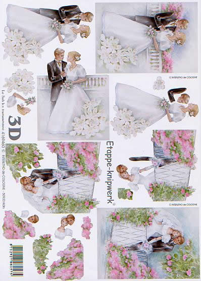 3D Bogen Brautpaar - Format A4,  Blumen -  Sonstige,  Le Suh,  3D Bogen,  Brautpaar