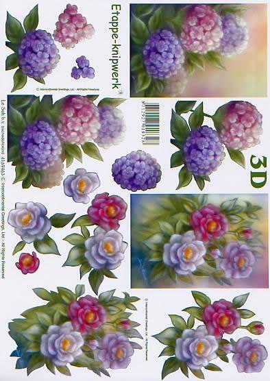 3D Bogen Blumen - Format A4,  Blumen - Rosen,  Le Suh,  3D Bogen,  Blumen