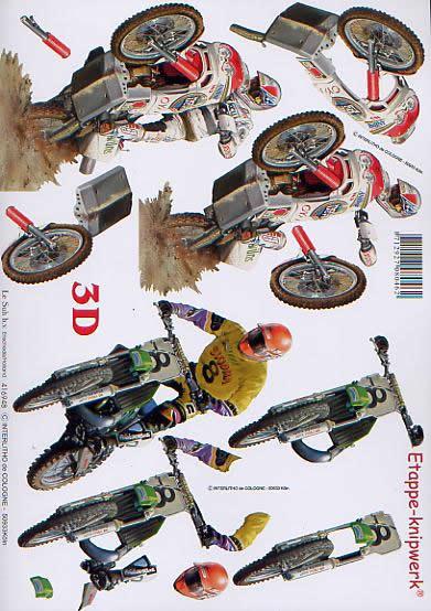 3D Bogen Moto-cross - Format A4,  Fahrzeuge - Moped / Motorrad,  Le Suh,  3D Bogen,  Moto-cross