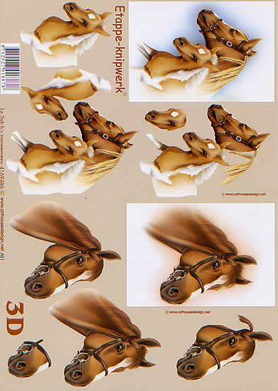 3D Bogen Pferde - Format A4,  Tiere - Pferde,  Le Suh,  3D Bogen,  Pferdeköpfe und Fohlenköpfe