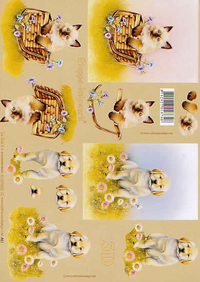 3D Bogen Katze + Hund - Format A4,  Tiere - Katzen,  Le Suh,  3D Bogen,  Blumenwiese,  Katze im Korb