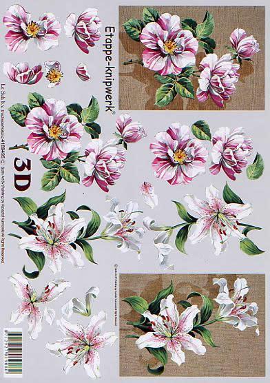 3D Bogen Blumen auf Jute - Format A4,  Blumen - Rosen,  Le Suh,  3D Bogen,  Blumen auf Jute,  Lilie