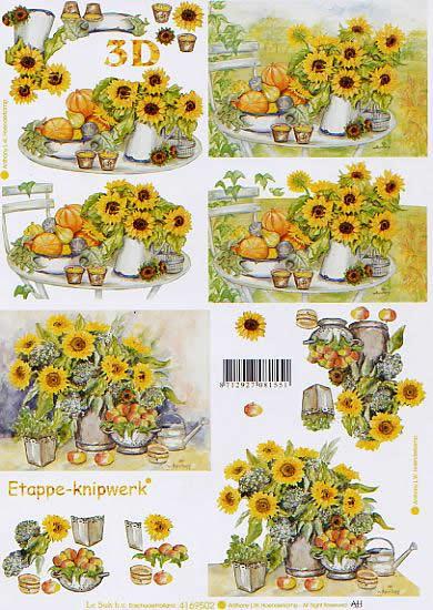 3D Bogen Sonnenblumenbär - Format A4,  Blumen - Sonnenblumen,  Le Suh,  3D Bogen,  Obst,  Strauß in Vase,  Gießkanne
