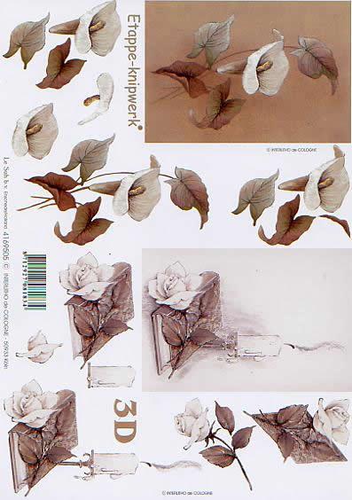 3D Bogen Kondolenz - Format A4,  Blumen - Rosen,  Le Suh,  3D Bogen,  Kondolenz,  Trauer