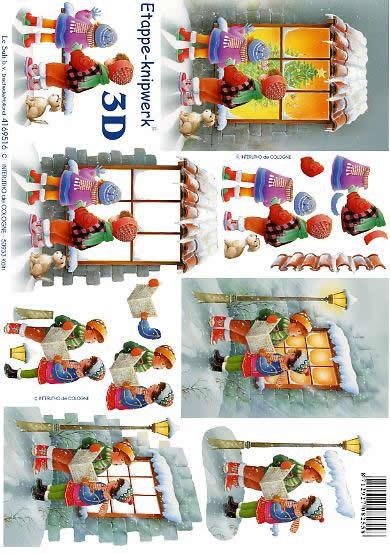 3D Bogen Kinder am Fenster - Format A4,  Menschen - Kinder,  Le Suh,  3D Bogen,  Laternen