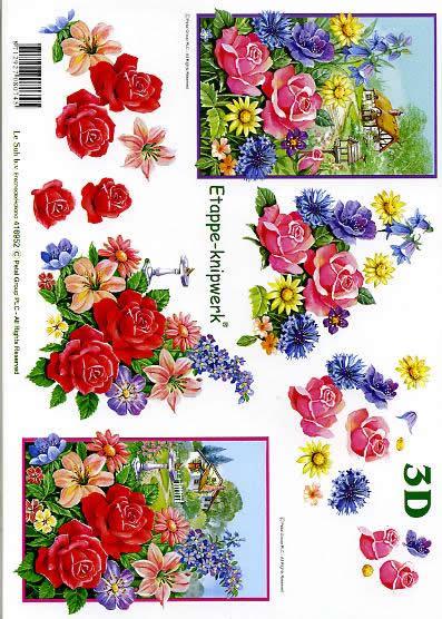 3D Bogen Blumen / Landhaus - Format A4,  Blumen - Rosen,  Le Suh,  3D Bogen,  Landhaus,  Lilie