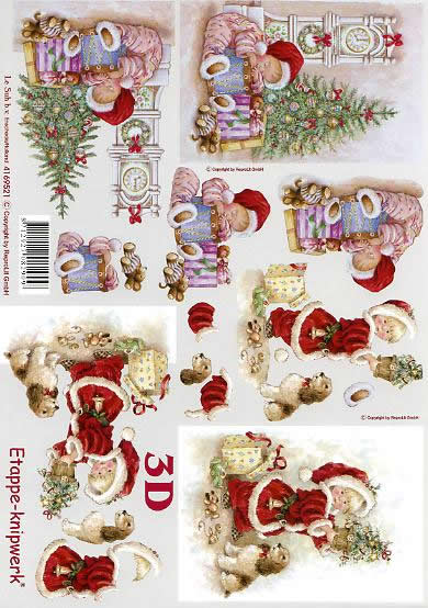 3D Bogen Weihnachtskind und Uhr - Format A4,  Weihnachten - Geschenke,  Le Suh,  3D Bogen,  Weihnachtskind und Uhr