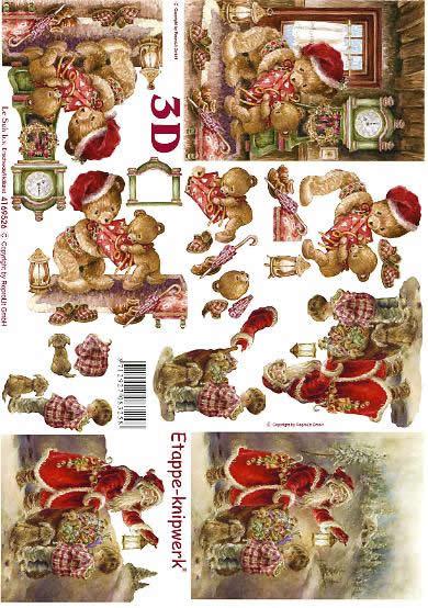 3D Bogen Weihnachtsbär + Mann - Format A4,  Winter - Schnee,  Le Suh,  3D Bogen,  Weihnachtsbär,  Geschenke