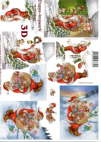 3D Bogen Weinachtsmann - Format A4,  Winter - Schnee,  Le Suh,  3D Bogen,  Spielzeug,  Laterne,  Tiere