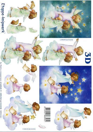 3D Bogen Engel auf Wolke - Format A4,  Weihnachten - Kerzen,  Le Suh,  3D Bogen,  Engel auf Wolke,  Sterne
