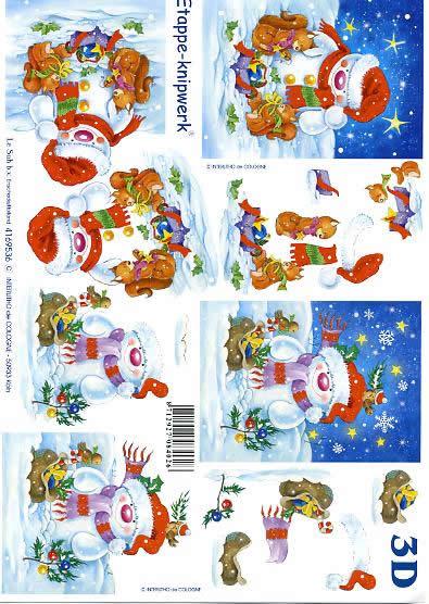3D Bogen Schneemann - Format A4,  Winter - Schnee,  Le Suh,  3D Bogen,  Tiere