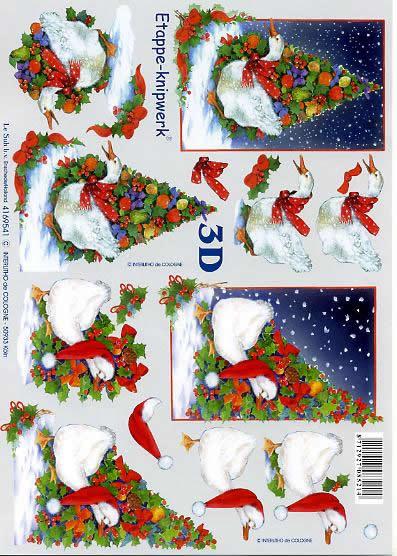 3D Bogen Weihnachtsgänse - Format A4,  Winter - Schnee,  Le Suh,  3D Bogen,  Weihnachtsgänse