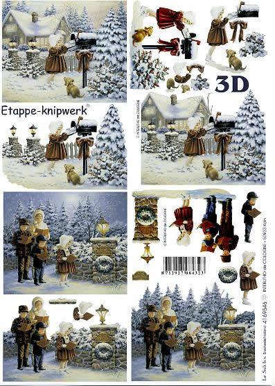 3D Bogen Singende Kinder - Format A4,  Menschen - Personen,  Le Suh,  3D Bogen,  Singende Kinder,  Winterlandschaft