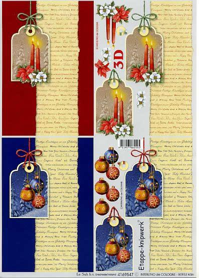3D Bogen Karte mit Aufschriften - Format A4,  Weihnachten - Kerzen,  Le Suh,  3D Bogen,  Karte mit Labels,  Christrosen