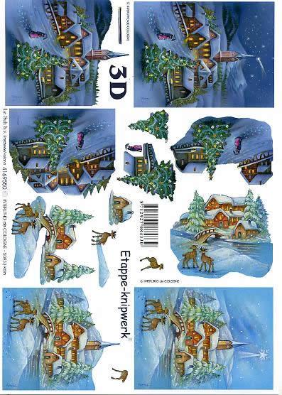 3D Bogen Dorf im Schnee - Format A4,  Tiere - Reh / Hirsch,  Le Suh,  3D Bogen,  Dorf im Schnee,  Winterlandschaft