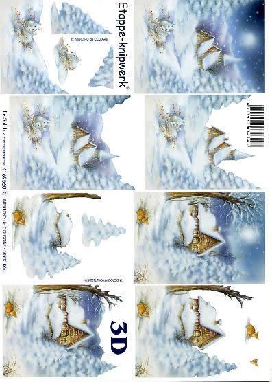 3D Bogen Kirche im Schnee - Format A4,  Tiere - Reh / Hirsch,  Le Suh,  3D Bogen,  Kirche im Schnee,  Winterlandschaft