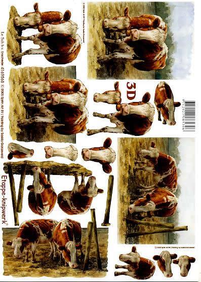 3D Bogen Kühe - Format A4,  Tiere - Kühe,  Le Suh,  3D Bogen,  Bauernhof