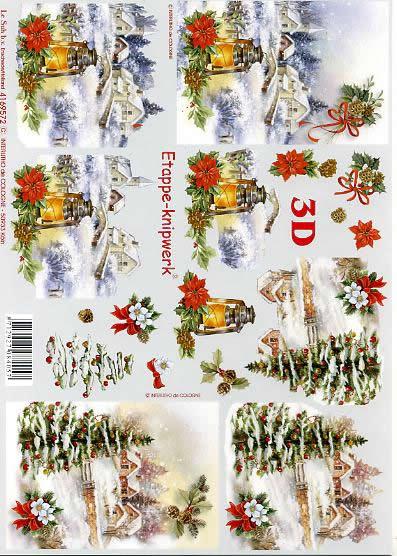 3D Bogen Weihnachtslandschaft - Format A4,  Weihnachten - Weihnachtsbaum,  Le Suh,  3D Bogen,  Winterlandschaft,  Christrosen,  Laterne