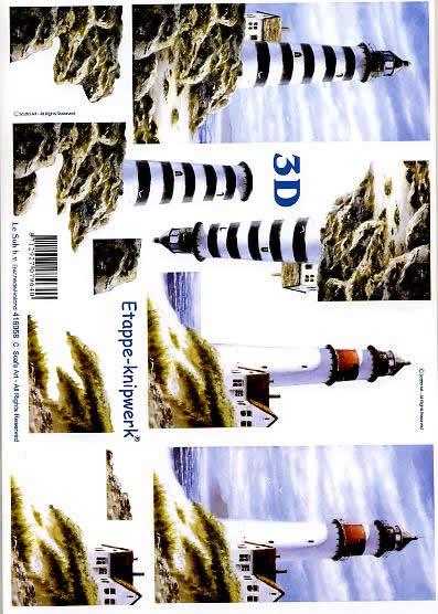 3D Bogen Leuchtturm - Format A4,  Regionen - Strand / Meer - Leuchttürme,  Le Suh,  3D Bogen,  Leuchtturm mit Häusern