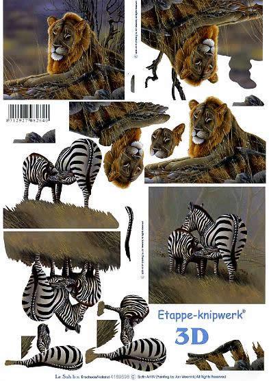 3D Bogen Löwe + Zebra - Format A4