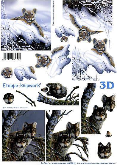 3D Bogen Tiger + Wölfe - Format A4,  Winter - Schnee,  Le Suh,  3D Bogen,  Wölfe
