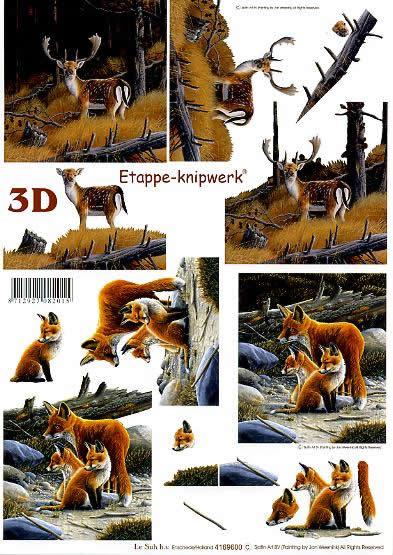 3D Bogen Hirsch + Füchse - Format A4,  Tiere - Reh / Hirsch,  Le Suh,  3D Bogen,  Füchse