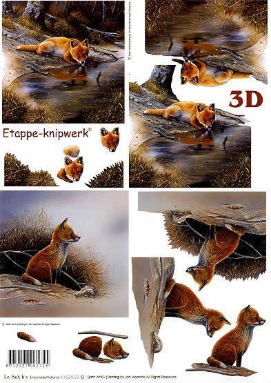 3D Bogen Füchse - Format A4,  Le Suh,  3D Bogen,  Füchse,  Tiere im Wald