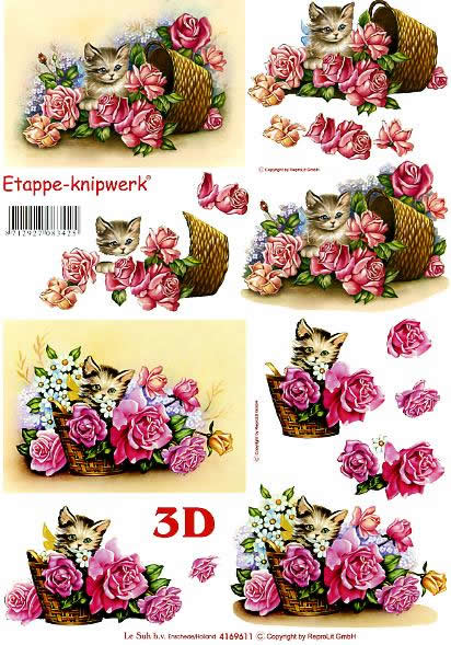 3D Bogen Katze + Rosen - Format A4,  Blumen - Rosen,  Le Suh,  3D Bogen,  Katze + Rosen