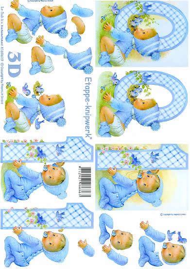 3D Bogen Blau 0 - 1 Jahre - Format A4,  Ereignisse - Feier,  Le Suh,  3D Bogen,  Blau 0-1 Jahre