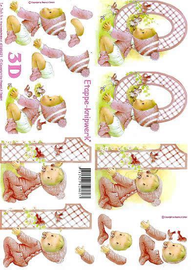 3D Bogen Rosa 0 - 1 Jahre - Format A4,  Ereignisse - Feier,  Le Suh,  3D Bogen,  Rosa 0-1 Jahre