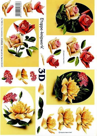 3D Bogen Rosen im Oval - Format A4,  Blumen - Rosen,  Le Suh,  3D Bogen,  Rosen+Nelke im Oval