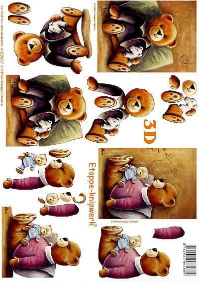 3D Bogen Bär - Format A4,  Tiere - Bären,  Le Suh,  3D Bogen,  sitzender Bär