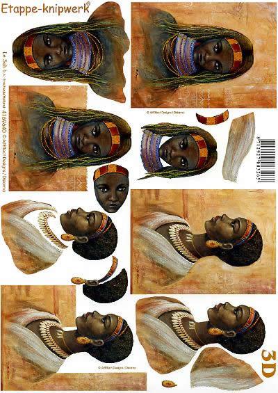 3D Bogen Afrika - Format A4,  Menschen - Personen,  Le Suh,  3D Bogen,  Negerin