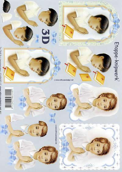 3D Bogen Betender Junge 2 - Format A4,  Ereignisse - Kommunion,  Le Suh,  3D Bogen,  Betender Junge 2, Religion,  Konfirmation,  Bibel