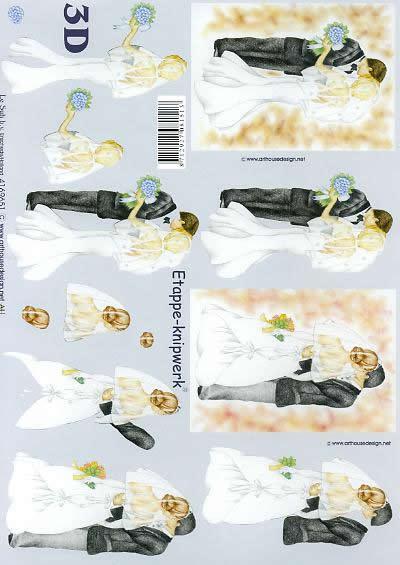 3D Bogen Brautpaar - Format A4,  Ereignisse - Hochzeit,  Le Suh,  3D Bogen,  Brautpaar,  Hochzeit , Blumenstrauß