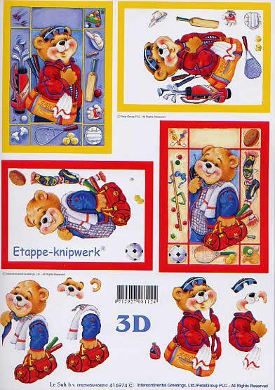3D Bogen Bär mit Sporttasche - Format A4,  Sport - Golf,  Le Suh,  3D Bogen,  Teddybären