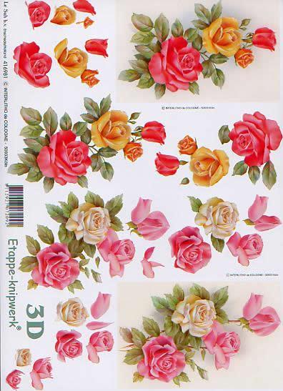 3D Bogen Rosen - Format A4,  Blumen,  Le Suh,  3D Bogen,  Weiße Rosa Rote Rosen