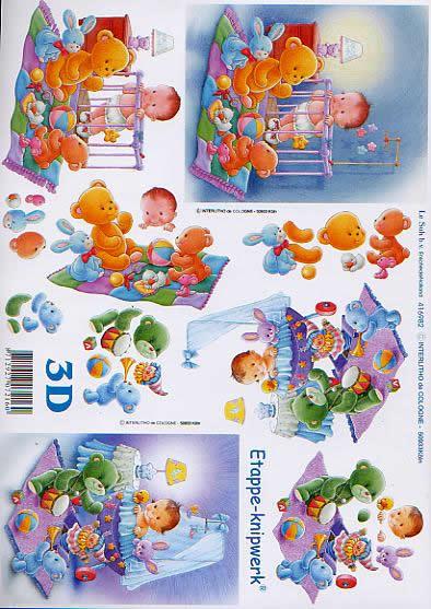 3D Bogen Baby in Laufstall + Wiege - Format A4,  Menschen - Babys,  Le Suh,  3D Bogen,  Baby in Laufstall + Wiege