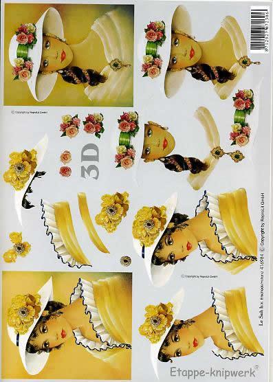 3D Bogen Gelbe Dame mit weißem Hut - Format A4,  Menschen - Personen,  Le Suh,  3D Bogen,  Gelbe Dame mit weißem Hut,  Romantik