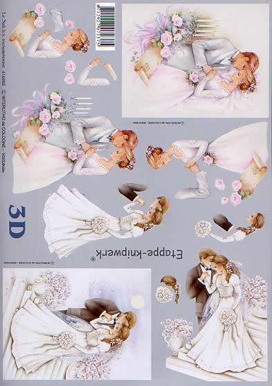 3D Bogen Heiraten - Format A4,  Menschen - Personen,  Le Suh,  3D Bogen,  Heiraten,  Vermählung,  Brautstrauß