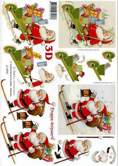 3D Bogen Weihnachtsmann auf Ski - Format A4,  Weihnachten - Geschenke,  Le Suh,  3D Bogen,  Weihnachtsmann auf Ski