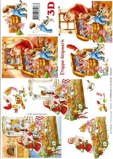 3D Bogen Weihnachtsmann in Küche - Format A4,  Spielsachen - Stofftiere,  Le Suh,  3D Bogen,  Weihnachtsmann in Küche, Weihnachtsgestecke,  Tiere