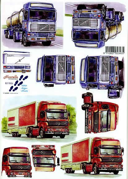 3D Bogen LKWs - Format A4,  Fahrzeuge - Baufahrzeuge,  Le Suh,  3D Bogen,  LKWs