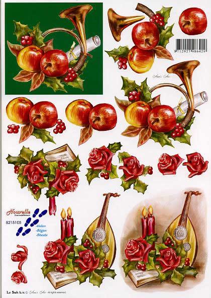 3D Bogen Horn + Laute - Format A4,  Sonstiges - Musik,  Le Suh,  3D Bogen,  Horn + Laute,  Obst