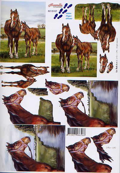 3D Bogen Pferde - Format A4,  Tiere -  Sonstige,  Le Suh,  3D Bogen,  Pferde auf der Weide am Ufer
