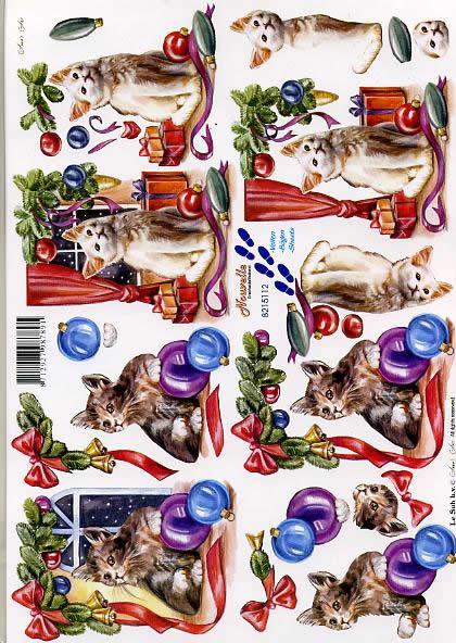 3D Bogen Weihnachtskatzen - Format A4,  Weihnachten - Geschenke,  Le Suh,  3D Bogen,  Weihnachtskatzen
